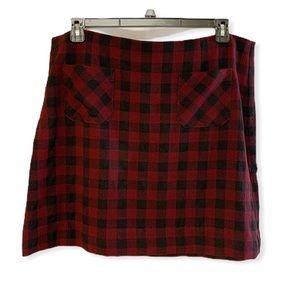 J. Jill burgundy and black buffalo plaid skirt XL
